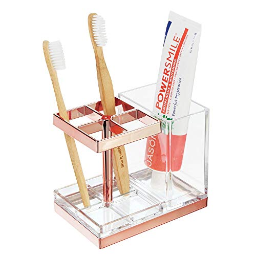 mDesign Decorative Plastic Bathroom Toothbrush and Toothpaste Stand Holder - Dental Organizer with 5 Storage Compartments for Bathroom Vanity Countertops and Medicine Cabinet - Clear/Rose Gold