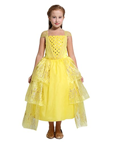 Princess Costumes Halloween Belle (Dressy Daisy Girls' 2017 Princess Belle Costume Princess Dress Halloween Fancy Dress Size 10 /)