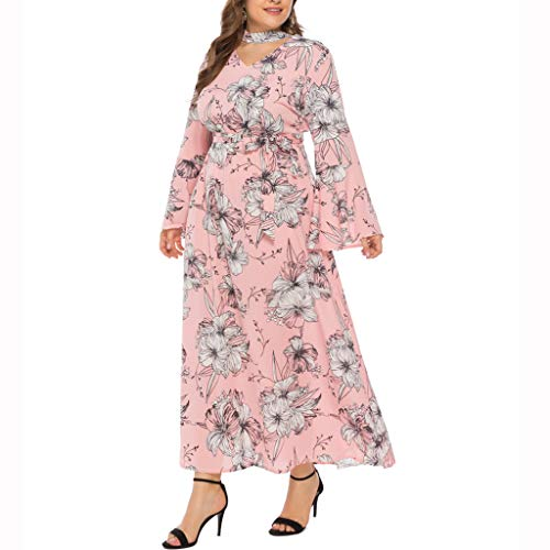(QueenMMWomen's Dresses Summer Floral Bohemian Plus Size V Neck Maxi Dress Long Sleeve Empire Waist Casual Dresses Pink)