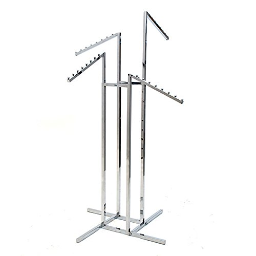 (KC Store Fixtures 28104 4-Way Garment Rack with 4 Slant Arms, Square Tubing Frame/Arms, Chrome)