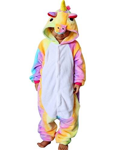 QQonsie Unicorn Kids Onesie Pajamas Children Animal Cosplay Halloween Costumes Rainbow