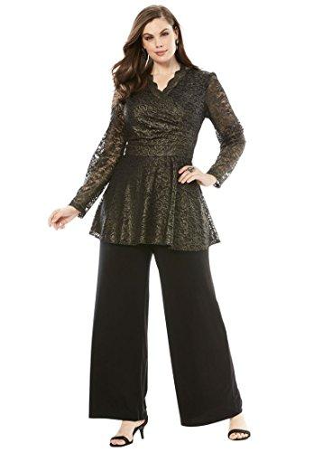 Roamans Womens Pant Suit - Roamans Women's Plus Size Lace Pantset - Black, 18 W