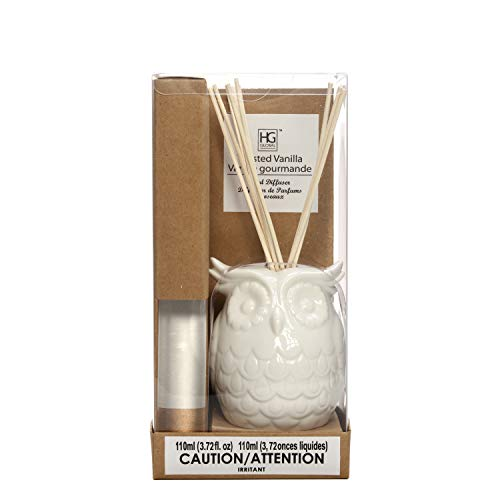 Hosley Aromatherapy Vanilla Diffuser Oil with Ceramic Owl Bottle and Reed Sticks All in One 110 Milliliter Ideal Gift for Weddings Spa Reiki Meditation Bathroom O5