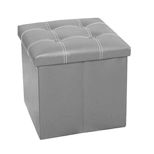 InSassy Folding Storage Ottoman Bench Foot Rest Toy Box Hope Chest Faux Leather - Small - Light Grey - Modern Round Sectionals Leather Sofa