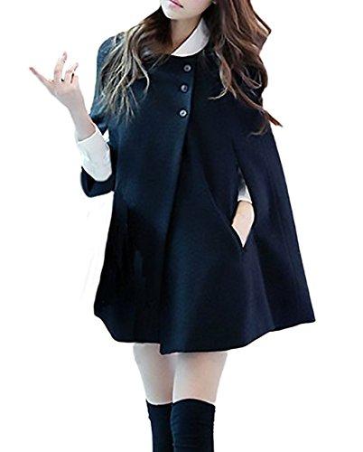Hiver Femme Vintage Ponchos lgant Manteaux Epais Mode Veste Manche Chauve Souris Blousons Bouton pais Chaud Gilet Capes en Laine Cardigan Trench Overcoat Outwear Noir