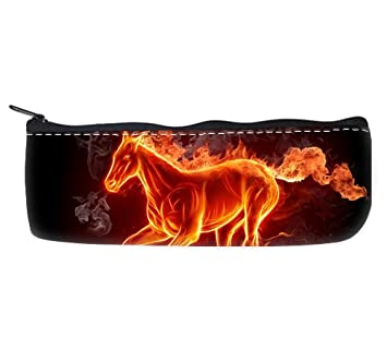 Burning Fire Running Horse Smoke Black Wallpaper Pencil Case Bag