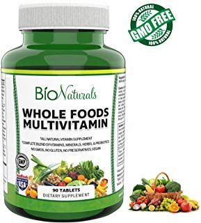 Bio Naturals Whole Foods Multivitamin For Men & Women – 100% Natural & Vegan Supplement with Vitamins A B C D E, Minerals, Herbs, Omegas, Probiotics, Organic Extracts – No GMOs, No Gluten - 90 Count