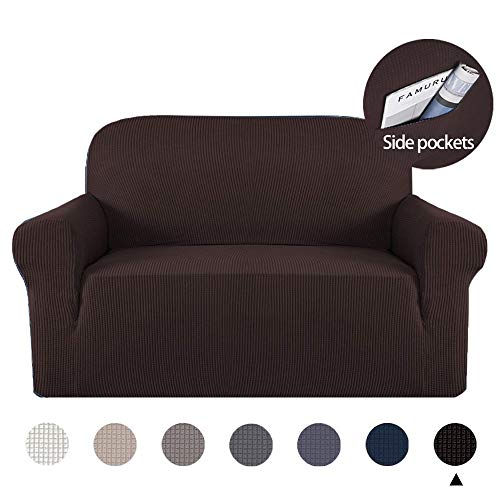 Marchtex Stretch Sofa Slipcover 1 Piece Sofa Covers for 2 Cushion Couch Sofa Slipcover Skid Resistant Sofa Cover for Loveseat Lounge Cover Indoor for Leather Couch, Form Fitted Jacquard - Brown (1 2 Lounge)