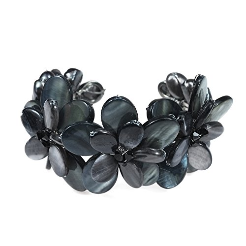 AeraVida Black Mother of Pearl Cultured Freshwater Pearls Cluster Flower Cuff-Bracelet Tribal Boho
