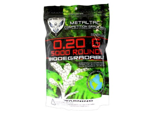 MetalTac Airsoft BBs Bio-Degradable .20g Perfect Grade High Precision 6mm BB Pellets (Bag of 5000 Rounds) (Best Airsoft Bbs To Use)