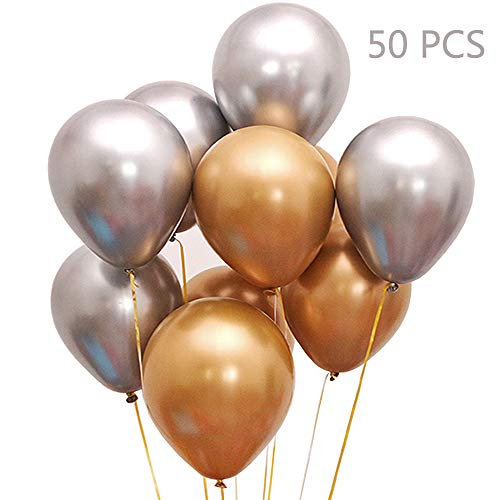 Juland 50 PCS Metallic Party Balloons Glossy Metal Pearl Latex Balloons 12'' Thick Pearly Chrome Alloy Inflatable Air Balloons for Birthdays, Bridal Shower - Gold and Silver