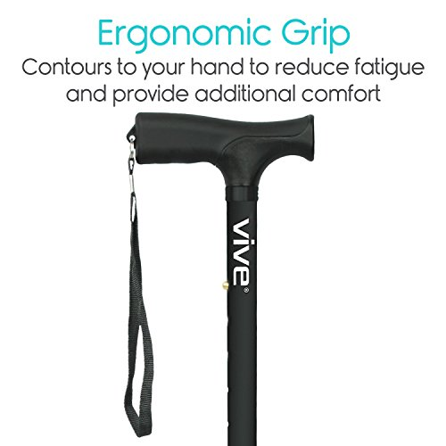 Vive Folding Cane - Foldable Walking Cane for Men, Women - Fold-up, Collapsible, Lightweight, Adjustable, Portable Hand Walking Stick - Balancing Mobility Aid - Sleek, Comfortable T Handles (Black) by VIVE (Image #5)