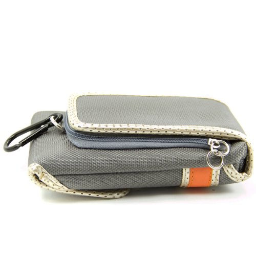 E Cig Traveling Case : Compatible with Vapen DUO Wax and Oil Pen Vaporizer [Silver Grey Nylon with Gold Trim] Universal Fit with Carabiner Hook for Key Attachment