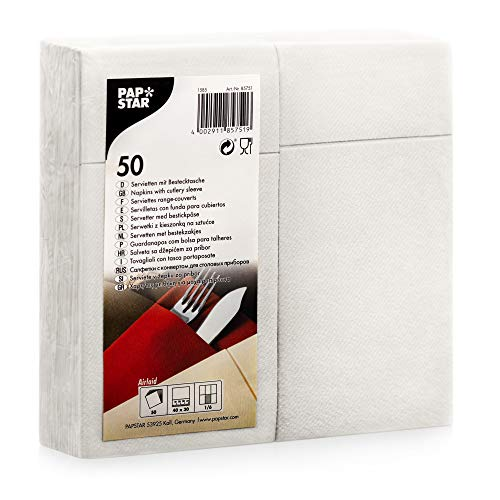 Papstar Cloth-Like Paper Disposable Cutlery Pocket Sleeve Napkins, 16