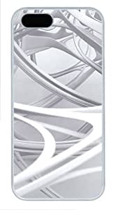 3D white linear 2 pretty iphone 5 case PC White for Apple iPhone 5/5S