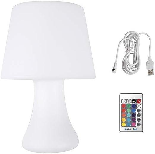 Cogex - 493396 - Lámpara de mesa a pilas con control remoto de vidrio y polietileno de color blanco.: Amazon.es: Iluminación