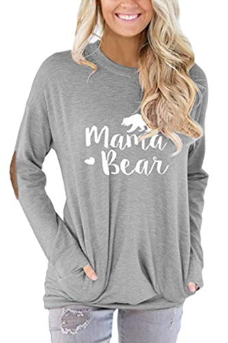 Pink Queen Women's Mama Bear Shirts,Loose Round Neck Pockets Top Grey Size 2XL