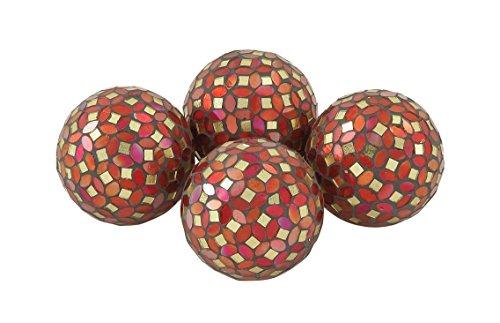 Benzara 24011 Multicolored PVC Glass Red Mosaic ORB Set of 4 - Multi Colored Mosaic Glass
