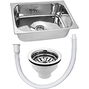 CROCODILE Stainless Steel Gloss Single Bowl Kitchen Sink (18 X 16 X 8 inch)