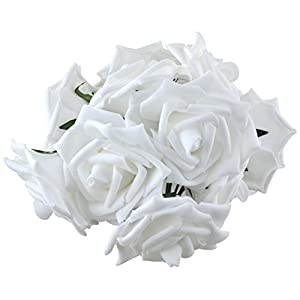 obmwang 50PCS White Foam Roses Flowers, Real Touch Artificial Rose Flowers DIY 3D Wedding Bridal Bouquet Home Hotel Party Garden Floral Decor White 4