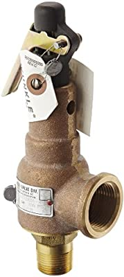 "Kunkle 6010EDE01-AM0200 Bronze ASME Safety Relief Valve for Steam, EPR Soft Seat, 200 Preset Pressure, 3/4"" NPT Male Inlet x 1"" NPT Female Outlet by Tyco Valves & Controls"