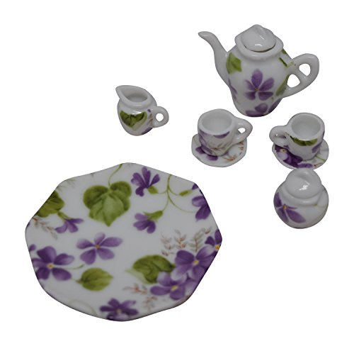 1:12 Scale 10 Piece Mini Dollhouse Size Purple Floral Tea Set with Teapot, Sugar, Creamer, Two Cups and Saucers, and Plate by Anny's -
