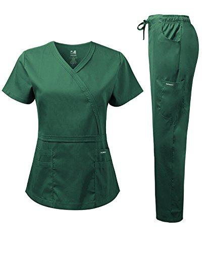 Dagacci Medical Uniform Women's Scrub Set Natural Stretch Y-Neck Stitch Tape Top and Pants (X-Large, Hunter ()