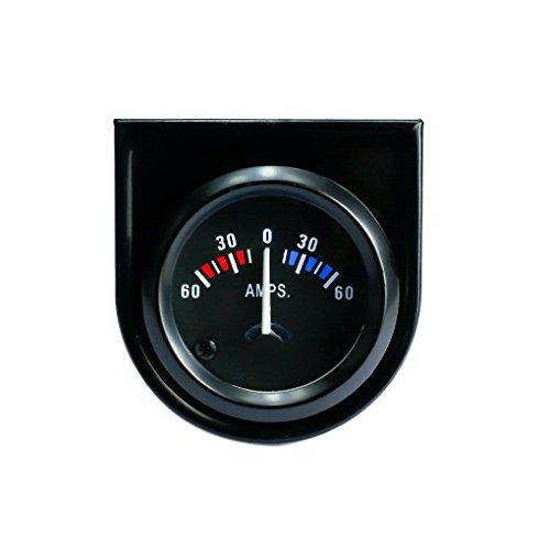 TopfireDirect 52mm 12V Black Dial Line Ammeter Meter Face Black Bezel Line Ammeter Gauge Car Meter Black Dial Black Meter