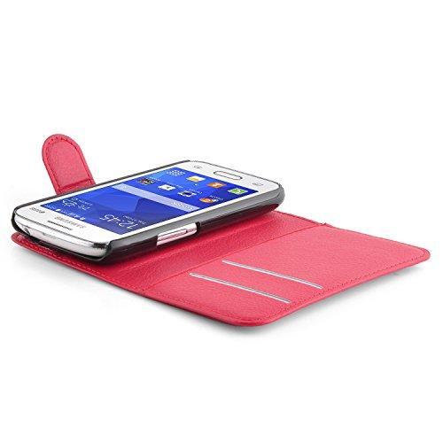 Cadorabo - Funda Samsung Galaxy ACE 4 LITE (G313H) Book Style de Cuero Sintético en Diseño Libro - Etui Case Cover Carcasa Caja Protección (con función de suporte y tarjetero) en NEGRO-FANTASMA ROJO-CARMÍN