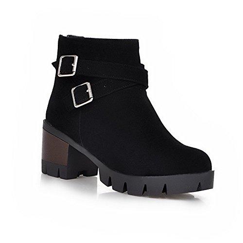 BalaMasa Girls Bandage Square Heels Buckle Imitated Leather Boots Black tbrLf4