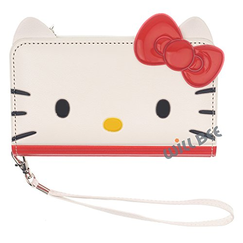 iPhone 6S Plus / iPhone 6 Plus Case HELLO KITTY Cute Diary Flip [ Double Sided Wallet ] Anti-Shock / Mirror / Coin Pocket Cover for [ Apple iPhone 6S Plus / 6 Plus ] - Wallet Face Red