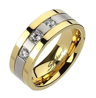 23ca2de4f5df Be Happy Anillo de Titanio Color Plata y Oro para Hombre con 3 Piedras de  Color ...