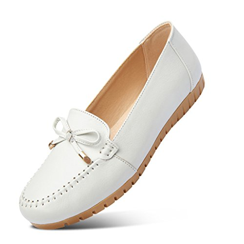 Sandals ZCJB Mother's Day Peas Shoes Women's Shoes Spring Season Mom Shoes Single Shoes Middle Aged Flat Shoes (Color : Beige grey, Size : 35) Off White