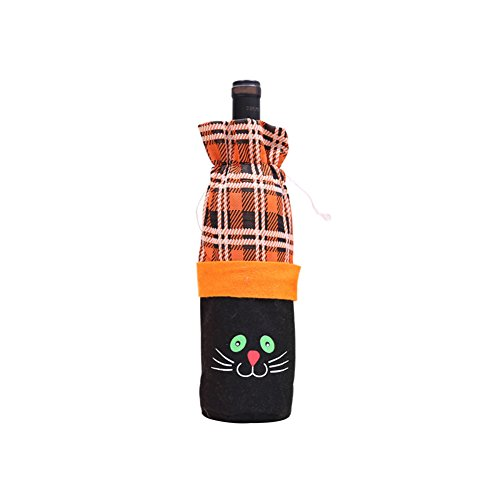 856store Clearance Sale Funny Pumpkin Grid Wine Decorative Bag Halloween Party Drawstring Bottle Pouch]()