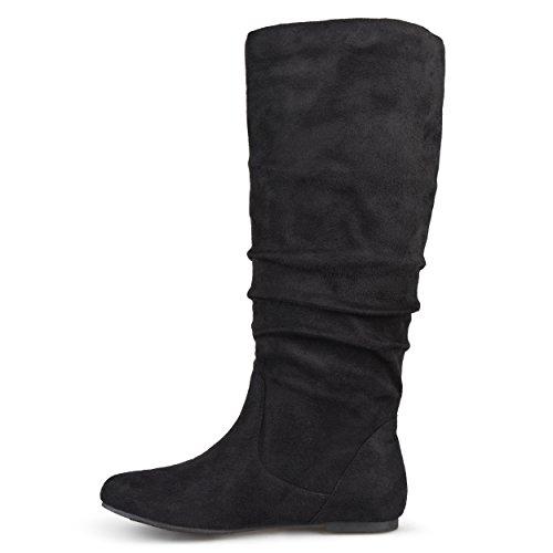 Collezione Journee Womens Wide Vitello Slouch Microsuede Boots Black 7 Wide Vitello