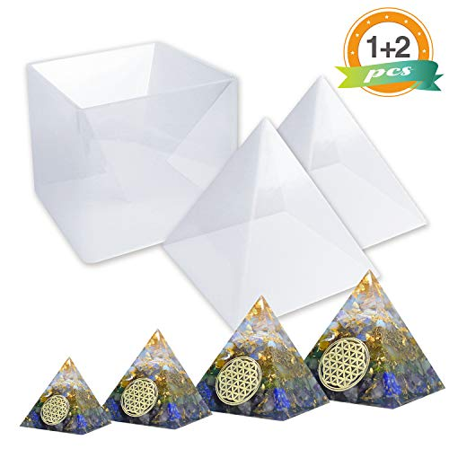 Large Resin Molds LET'S RESIN Pyramid Molds, Resin Silicone Molds for DIY Orgonite Orgone Pyramid, Orgonite Jewelry, Great for Paperweight, Home Decoration, etc (Height:15cm/5.9inch) - Paperweight Casting Mold