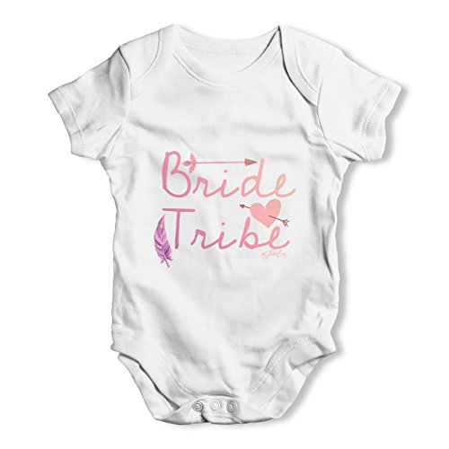 TWISTED ENVY Bride Tribe Baby Unisex White Baby Grow Bodysuit 0-3 Months ()
