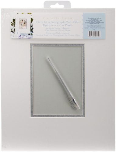Darice VL64 Autograph Mat Frame with Pen, White/Silver