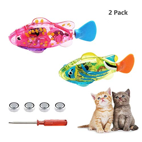 SUPER MOLLY Swimming Robot Fish Toys,Fish Tank Toy,Activated in Water with LED Light,Cat Toy&Dog Toy,Swimming Bath Plastic Fish Toy with Child