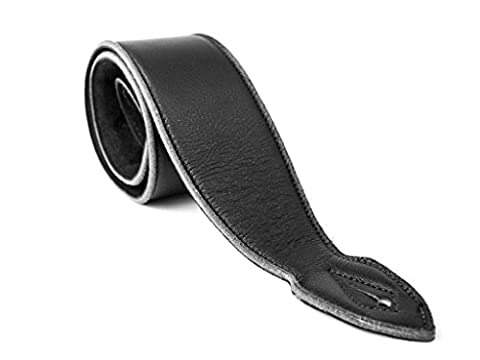 LeatherGraft Dark Jet Black Genuine Leather Extra Soft 3.7 Inch Wide Padded Guitar Strap - For all Electric, Acoustic, Classical and Bass (Black Leather Padded Guitar Strap)