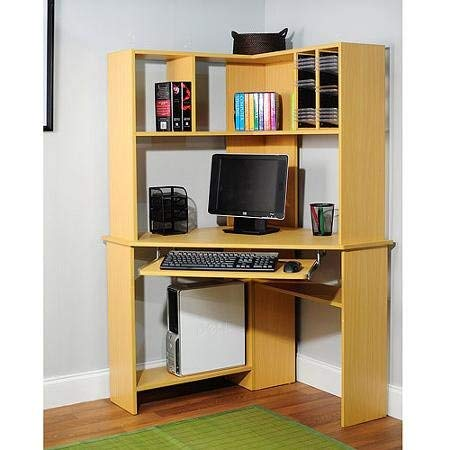 Morgan Computer Desk with Hutch, Natural