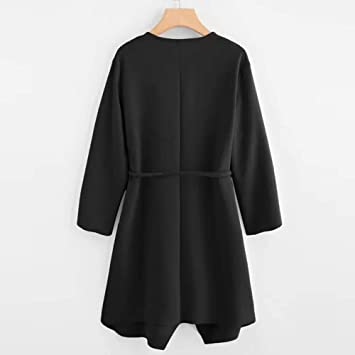LILICAT® Mujeres Casuales Cascada Cuello Bolsillo Frente Abrigo Abrigo Chaqueta Outwear (Rosa Negro Rojo Beige): Amazon.es: Juguetes y juegos