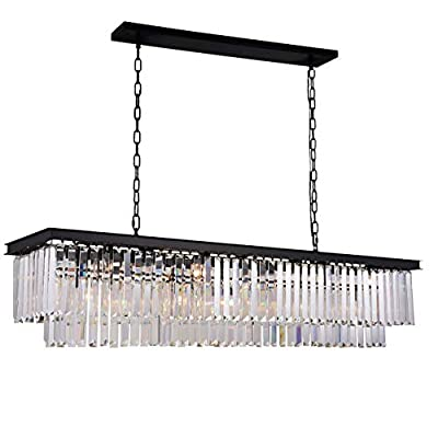 """Antilisha Rectangular Crystal Chandelier Lighting Modern K9 Pendant Ceiling Chandeliers 8 Lights for Dining Room Kitchen Island Dinning Table Rectangle Linear Chandeliers Fixture L39.4"""" W10.2"""""""