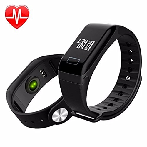 Jahyshow Wireless Fitness Activity Tracker Smart Bracelet Watch Wristband Blood Pressure Heart Rate Calorie Tracker Pedometer Sport Sleep Monitor Waterproof for Android IOS Phone£¨Black£
