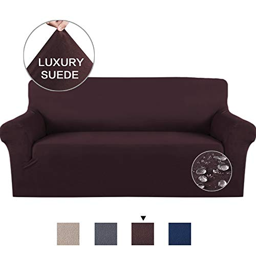 us Soft High Stretch Suede Sofa Slipcover Brown Couch Covers Velvet Plush Furniture Protector Machine Washable Sofa Covers, 3 Seater Sofa Size ()
