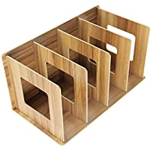 Wood DIY 4 Compartments Literatures Book Dictionary Desk Organizer Detachable Small CD Holder Office Home School Use (Brown)