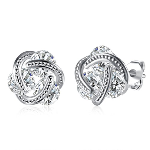 Jewelry Woven Crystal Love Knot Clip On Earrings Rhodium Plated Alloy (Silver)