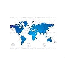 WORLD MAP BLUE WHITE BLACK FRAME FRAMED ART PRINT PICTURE MOUNT B12X8827