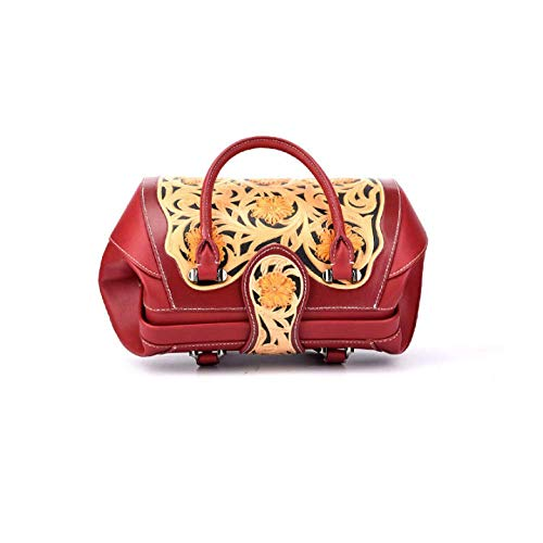 Mode Fleur à AJLBT En Femme Sac Ethnique Red Style Rétro Style Relief Chinois Sac Main xfwOIzA