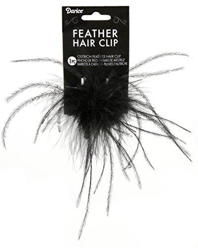Ostrich Feather Hair Clip Pkg Black